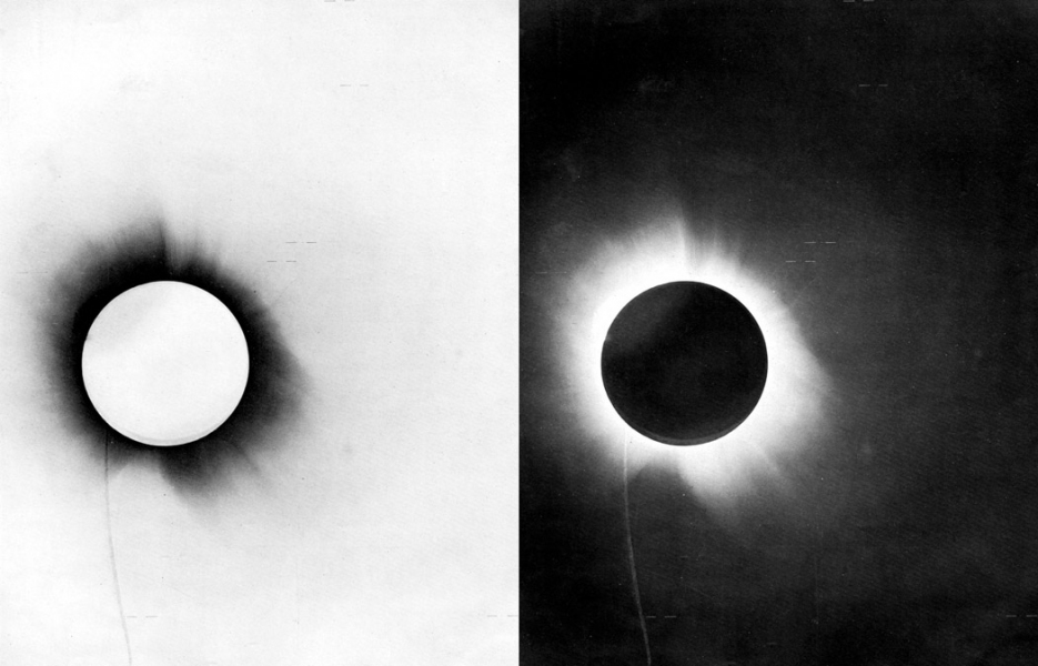 Source: Houston Center for Photography, 1919 photo of a total solar eclipse